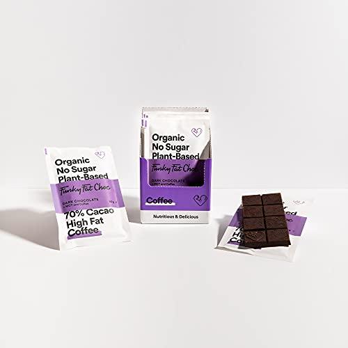 Chocolate vegano con 70% de cacao, chocolate sin azúcar refinado con café, sin gluten, bajo en carbohidratos, chocolate negro orgánico, barras de 10x50g