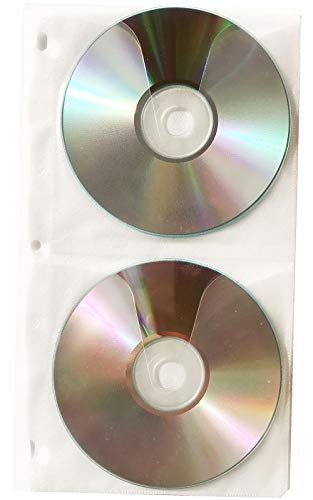 Media A2Z 4 Disc CD DVD Poly Sleeves 3 Ring Binder Pages - 100 Disc Capacity - 25 Pack