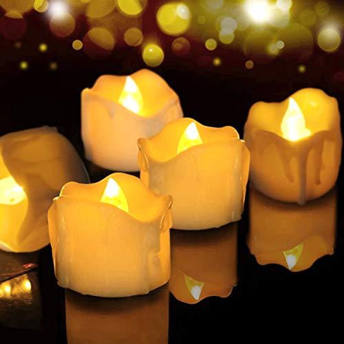 LED Kerzen, FOCHEA 12er Set Flammenloses LED Kerzen/Teelichter/LED Teelicht Batteriebetriebener mit Timer-Funktion, 6 Stunden an und 18 Stunden aus für Weihnachtsdek Hochzeit(Warmweiß)