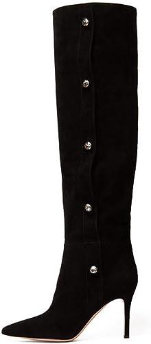 ZL Bottes pour Les Les dames Noires à Bouts Pointus de Genou à Talons Hauts Chaussures pour Femmes 37-46