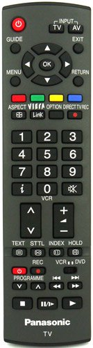 PANASONIC EUR7651110 Original-Fernbedienung für PANASONIC-Fernseher, mit zwei 121AV AAA-Batterien (im Lieferumfang enthalten).