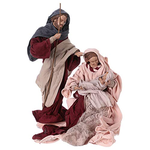 Holy Family 25 cm Resin and Pink and Burgundy Cloth