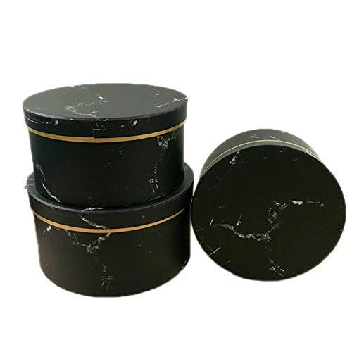 Gelentea Lot de 3 boîtes cadeaux rondes avec motif marbré pour fête de mariage
