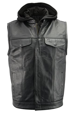 Men's Leather Club Style Vest w/Removable Bib Hoodie | Premium Natural Buffalo Leather | Patch Access Lining, New Outseam Gun Pocket | Black Motorcycle Vest (Black, 4X)
