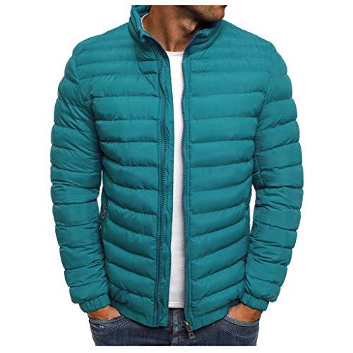 Xiangdanful Herren Winter Jacke Steppjacke Wintermantel Daunenjacke Steppjacke Down Jacket Warm Gefüttert Coat Stehkragen Baumwolljacke Hoodie Bomberjacke Puffer Jacket Sportswear (S, Hellblau)