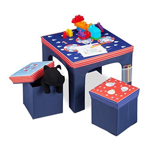 Relaxdays Sitzgruppe Kinder, faltbar, Kindertisch, Sitzhocker mit Stauraum, Sitzgelegenheit Kinderzimmer, Fische, blau