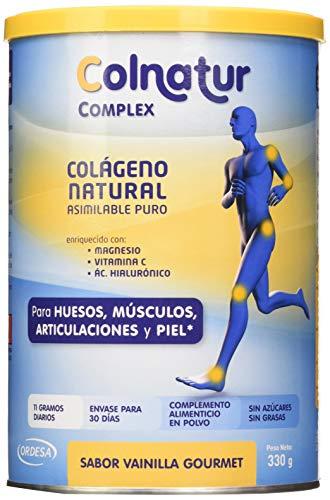 Colnatur Complex Vainilla 330 g - Colágeno natural asimilable puro, con vitamina C, Magnesio y Ácido Hialurónico - Cuidado de articulaciones, huesos y músculos. Actividad física media - 11 g/día.