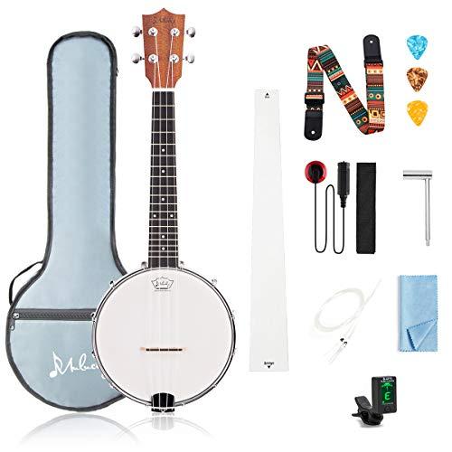 Mulucky 4 Saiten Banjo Ukulele Konzert 58 cm Anfänger Kit mit Halsstab Gigbag Tuner String Strap Picks - BU806