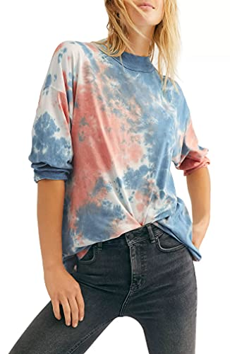 Free People Women's Be Free Tie Dye Tee, Cotton Candy, Pink, Print, X-Small
