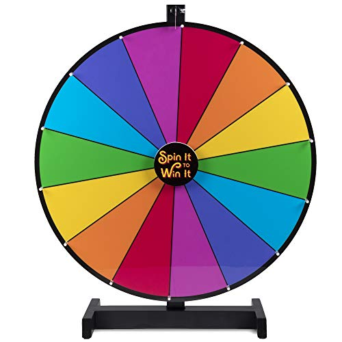 Brybelly Spin it to Win It Jumbo Prize Wheel, 24' | 14 Colorful Slots, Customizable Button, Adjustable Spin Speed | Tabletop Prize Wheels for Trade Shows, Office Games, and Parties