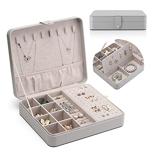 Vlando Jewelry Box, Pu Leather Jewelry Storage Boxes with Earrings Necklaces Bracelets Ring Storage Box for Friends Women Girls.