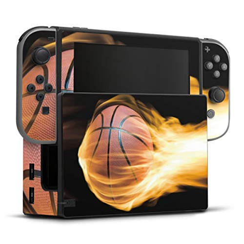 DeinDesign Skin kompatibel mit Nintendo Switch Folie Sticker Basketball Feuer