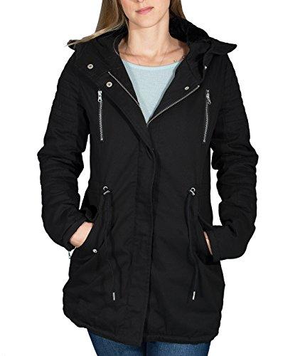 BetterStylz Dames winterjas Sherpa Parka Overgangsmantel met imitatiebontcapuchon, diverse Kleuren (XS-XL)
