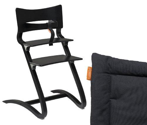 Leander Hochstuhl schwarz mit Sicherheitsbügel und Sitzkissen Coal