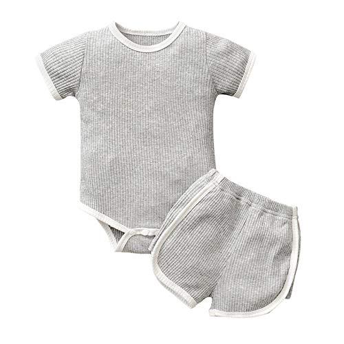 Julhold Mameluco de color sólido para recién nacido, para bebés, niños, niñas, de manga corta + trajes cortos