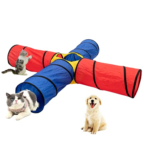 Pet Agility Tunnel, VMOPA Pet Training Tunnel with Carrying Bag Outdoor Obedience Exercise Equipment for Dogs, Puppies, Cats, Kittens, Ferrets, and Rabbits (4-Way)