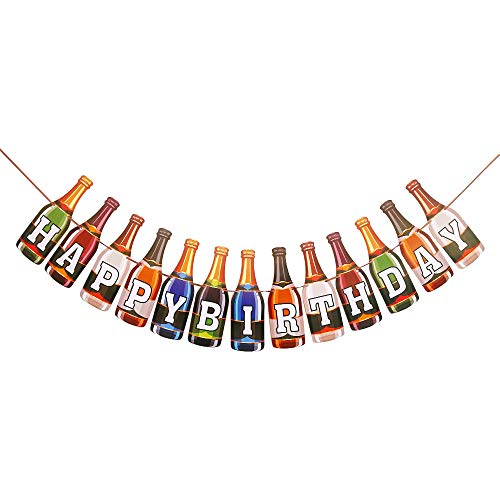 Colorful Happy Birthday Banner, Bottle Shape, Birthday Party Decoration, Funny Birthday Party Decoration for Adults
