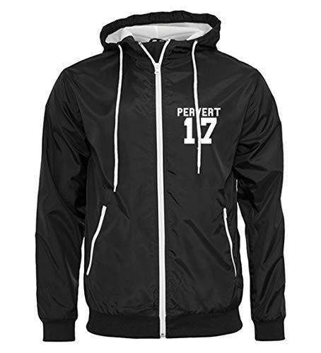 Artshirt Factory Pervert 17 Wind-Jacke, Farbe: Schwarz/Weiß, Größe: L