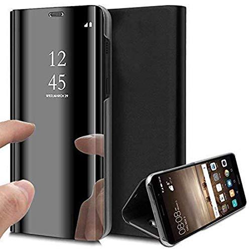 Caler ® Funda Compatible/Reemplazo para Xiaomi MI A2 Lite Funda,Flip Tapa Libro Carcasa Modelo Fecha Espejo Brillante tirón del Duro Case, Espejo Soporte Plegable Reflectante (Negra Negro)