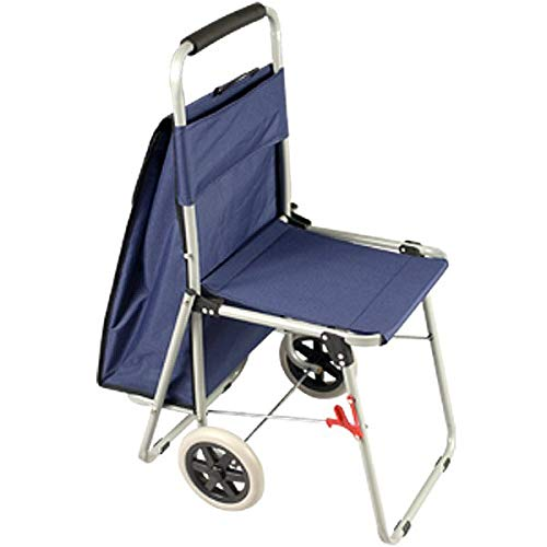 The ArtComber Folding Big Wheeled Portable Rolling Chair/Art Cart with Storage - Blue