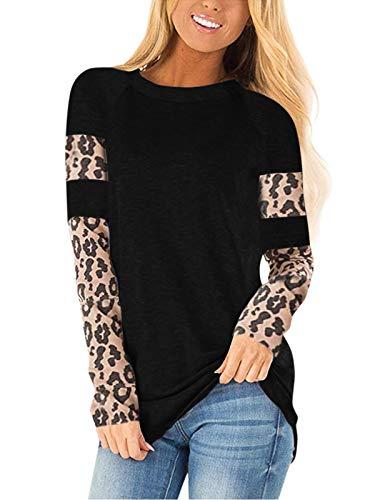 CNFIO Camisetas Mujer Manga Larga Leopardo Raya Cuello Redondo Blusas para Mujer Suelta Tops Mujer Fiesta