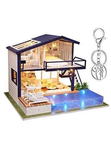 Zebroau Kit de casa de muñecas de madera DIY Dollhouse, Casas De Muñecas Con Muebles Luz LED Y Música, Niñas Niños Vacaciones Regalos de cumpleaños(sin cubierta antipolvo)