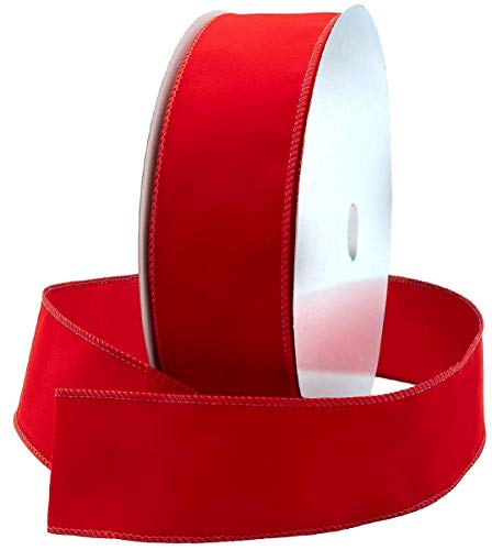 Red Wire Ribbon Velvet 2.5 (2 1/2) Inch Wide Wired-Edge Trim - Gift Wrapping Bow, Indoor Outdoor Christmas Tree Trimming Bows/Winter Wedding/Valentine Ribbons Xmas Crafts & Gifts