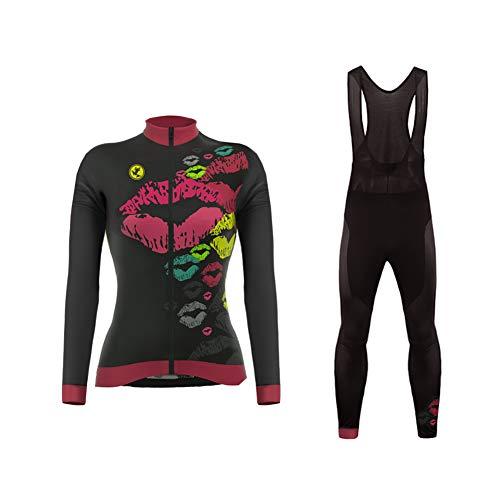 Uglyfrog Donna Moda Maglia Ciclismo Jerseys Maglia con Lunghe Maniche Tuta Invernale + Pantaloni Lunghi di Ciclismo Set