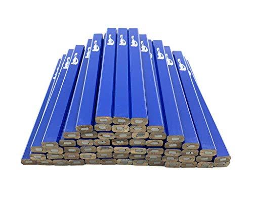 BRUFER 25252 Blue Carpenter Pencils - Bulk Pack Box of 60 Carpenter Pencils