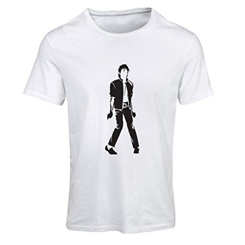 lepni.me Camiseta Mujer Me Encanta M J - Rey del Pop, 80s, 90s Músicamente Camisa, Ropa de Fiesta (XX-Large Blanco Negro)