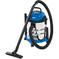 Wet and dry vacuum cleaner with 20 litre tank 5M cable and approved plug Castors for easy movability and a carry handle Ideally suited for use in the workshop, garage or DIY work around the home and garden Designed to pick up wet and dry materials