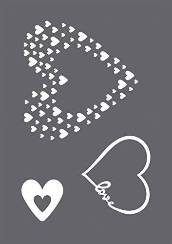 Rayher 45124000 Schablonen Set Love mit selbstklebender Siebdruck-Schablone und Rakel für Papiergestaltung, Scrapbooking und Textiles Gestalten, A5