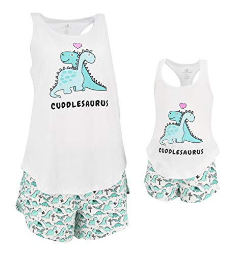 Unique Baby UB Girls Cuddlesaurus Mommy and Me Valentine's Day Loungewear Outfit (2t) Aqua