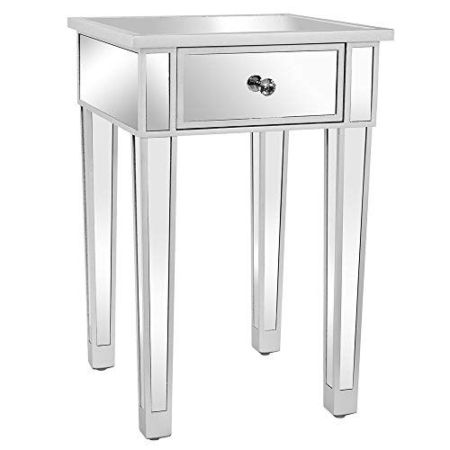 Bonnlo Mirrored Nightstand End Table Bedside Table with Drawer for Bedroom Living Room, Silver