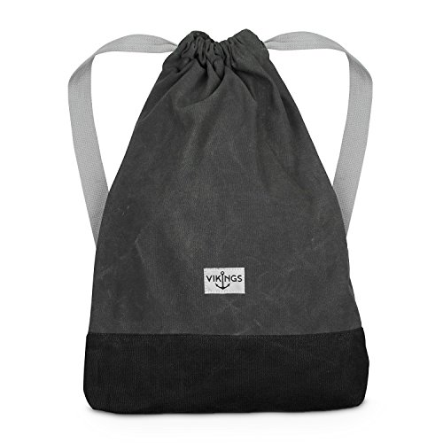 Rucksack Gym Bag Sack Turnbeutel Baumwolle Canvas Tasche Sport Frauen Männer Kinder, Farbe:Grau