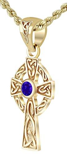 New Small Solid 14k Yellow Gold Irish Celtic Cross Synthetic Tanzanite Pendant Necklace