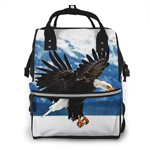 Mochila de Pañales para Cambiar Pañales Flying Eagle calvo montañas, Gran Capacidad Bolsa de Momias a Prueba de Agua Elegante para Mamá Papá Viajar Con Un Bebé