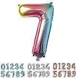 PARTY Globos de Cumpleaños - Número Grande Multicolor Metalizado - Fiesta de cumpleaños y Aniversarios - Gigante 105 cm - Hinchable - Tamaño XXL (7-Multicolor)