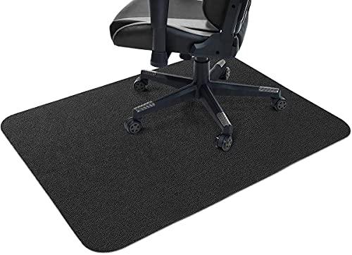 Yoole EU Alfombrilla de protección para silla de oficina, resistente a los arañazos, 4 mm de grosor, antideslizante, silencioso, 90 x 120 cm, color negro