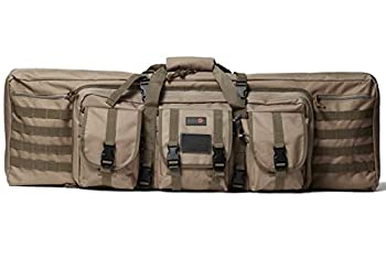 Double Rifle Bag | 2 Rifles + 2 Pistols Tuckable Backpack Straps | COMBAT VETERAN OWNED COMPANY | Waterproof Padded Lockable Carbine or Long Gun Case  Flat Dark Earth Tan 42  x 12  Double Rifle Case