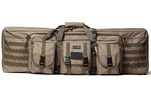 "Double Rifle Bag | 2 Rifles + 2 Pistols Tuckable Backpack Straps | COMBAT VETERAN OWNED COMPANY | Waterproof Padded Lockable Carbine or Long Gun Case (Flat Dark Earth Tan, 42"" x 12"" Double Rifle Case)"