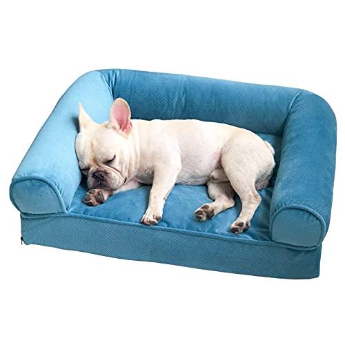 IUYJVR Sofá para Perros, extraíble y Lavable, Suave y cómoda Cama para Mascotas de tamaño Mediano con Respaldo, Antideslizante, Resistente a los arañazos, Resistente a Las mordeduras (Azul) (tamaño