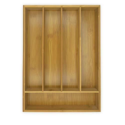 Posate in legno di bambù, organizzatore/separatore di posate da cucina per cassetti 35,5 x 25,5 x 5 cm.