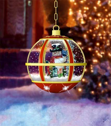Holiday Musical Snow Globe Snowman Hanging Lamp by Jumbl