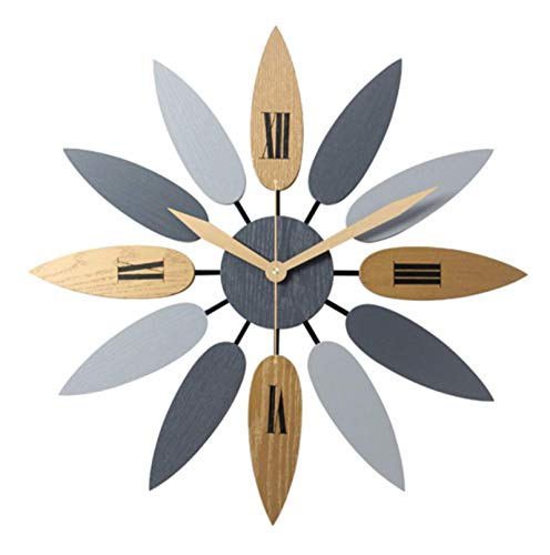 pingdi Large Wall Clock, 52 cm Retro Nordic Style Wall Clock, Creative Leaf-Shaped Design Silent Wall Clock, Suitable for Living Room/Bedroom/Office.
