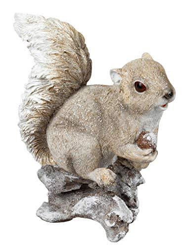 dekojohnson Eichhörnchen-Deko-Figur mit Eichel Eichkätzchen Tierfigur Herbstdeko Winterdeko Zierfigur Gartendeko braun Creme 23cm Waldfiguren