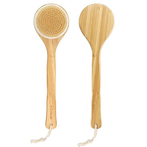 Körperbürste, BELICOO Rückenbürste Langstiel Bambusholz, Badebürste Naturschweinborsten, Trockenbürste-Peeling Entfernen Sie abgestorbene Haut, verbessern Sie die Durchblutung und lymphatische