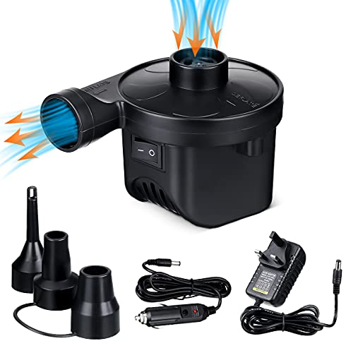 Electric Pumps, Electric Air Pump Home/Car Use for Inflatables Quick, 50W Inflator/Deflator Camping Pumps with 3 Nozzles, for Inflatable Sofa, Air Raft Mattress, Swimming Ring, Electric Pumps