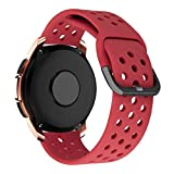 MroTech Correa 20mm Compatible para Samsung Galaxy Watch 42mm/Active/Active2 40mm 44mm/Gear Sport/S2 Classic Pulseras de Repuesto para Huawei Watch GT 2 42 mm/Ticwatch 2/E/C2 20 mm Band Sport Rojo