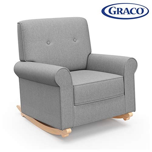 Graco Harper Tufted Rocker, Horizon Gray Cleanable Upholstered Nursery Rocking Chair, Converts to Stationary Armchair